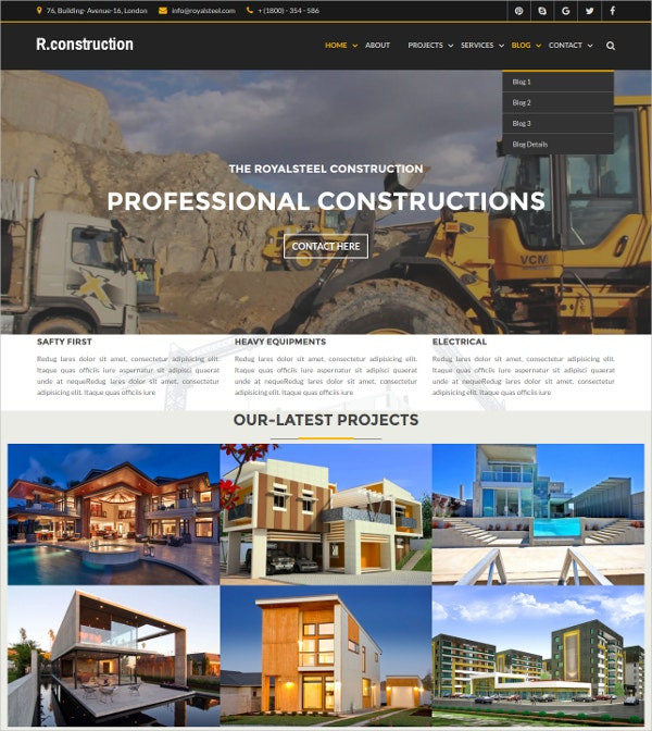 Construction Business HTML5 Template $18