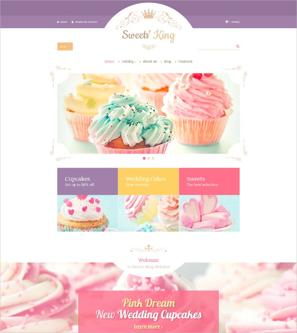 Wedding Cakes & Sweet Shop eCommerce VirtueMart Template $97
