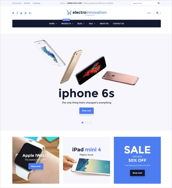 Electronics Gadgets eComerce Shopify Theme $97