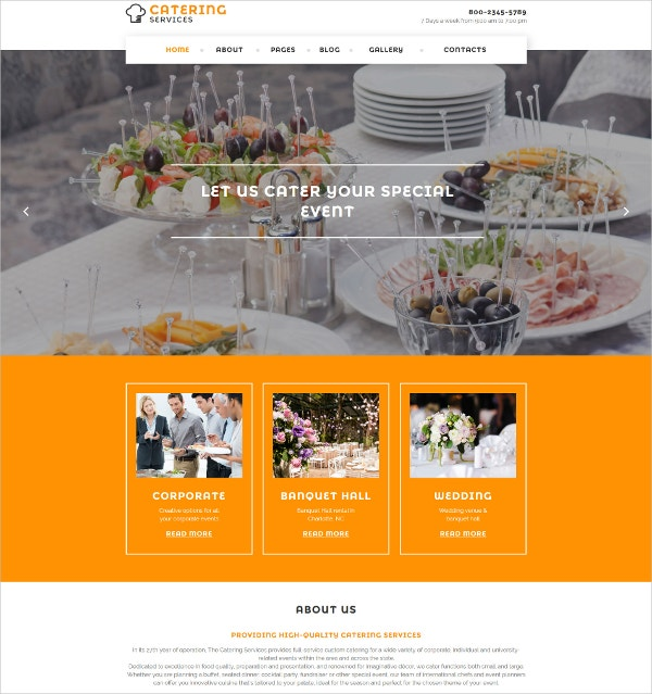 Special Events Catering Services Joomla Template $53
