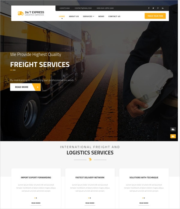 Logistics Transportation Services Joomla Theme $48