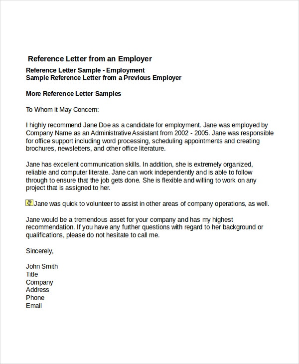 6 Job Reference Letter Templates Free Sample Example Format – Sample Reference Letter for Employee