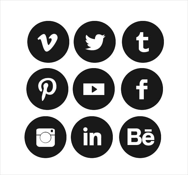social media logos. circle social media icons logos