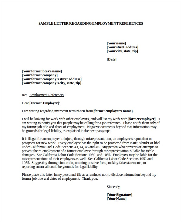 6 Job Reference Letter Templates Free Sample Example Format – Employment Reference Letter