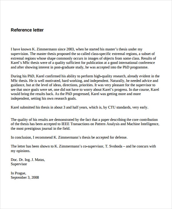 Job reference letter from supervisor