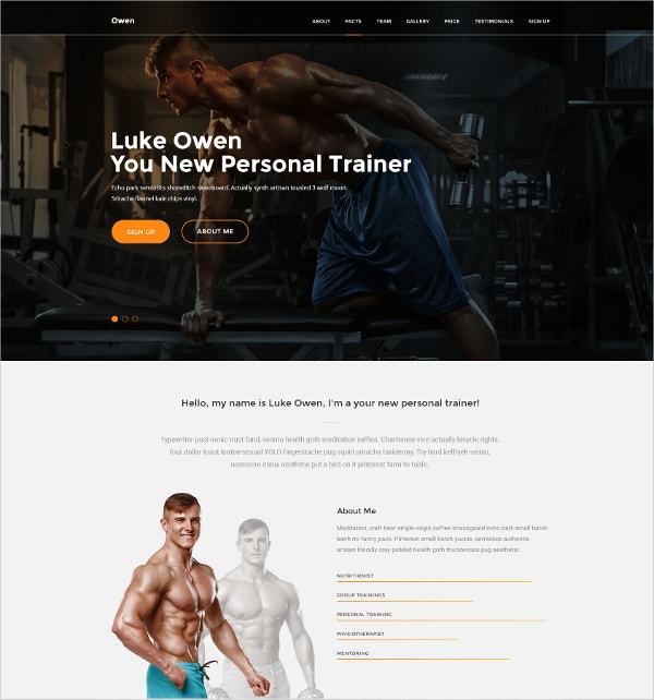yoga fitness personal trainer drupal template 9