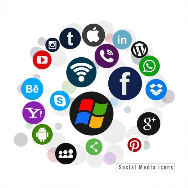 several vector social media icons