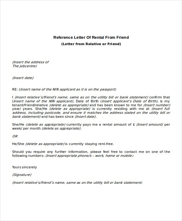 Rental Reference Letter Templates  Free Sample Example Format