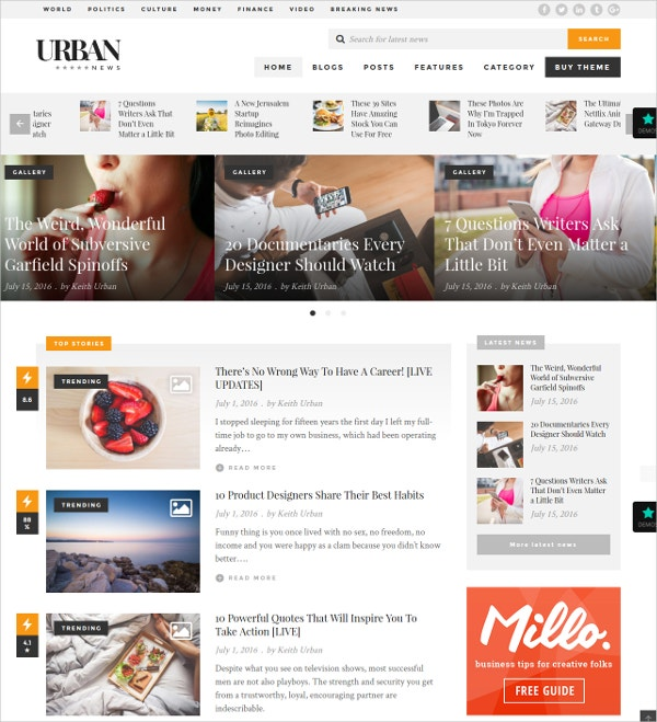 Fashion Responsive Magazine Blog Theme $49