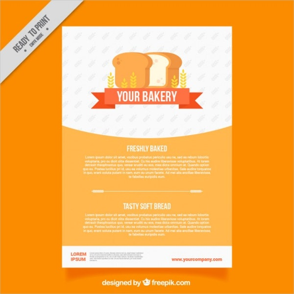Bakery Brochure Template with Loaf Free Vector