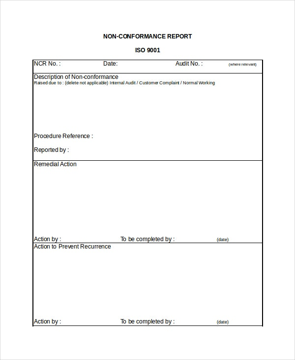 Non-Conformance Report Template