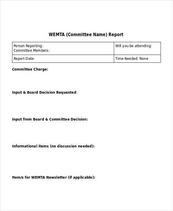 Board Report Template