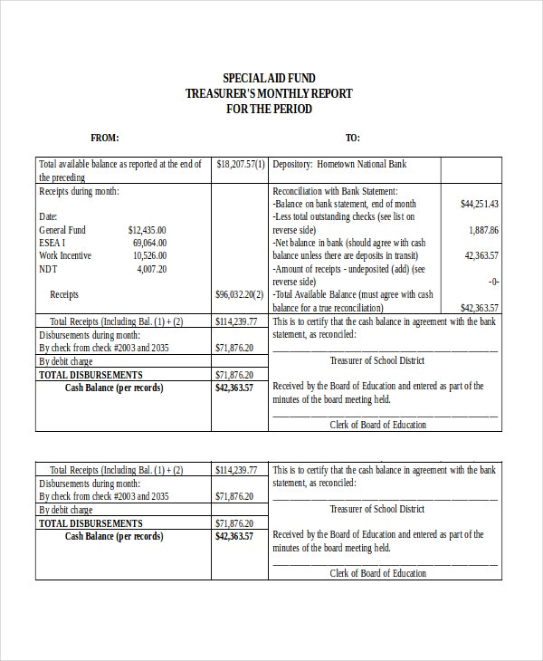 Treasurer Report Template