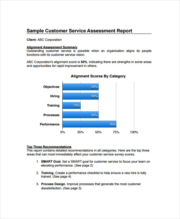 Sample Service Report Template