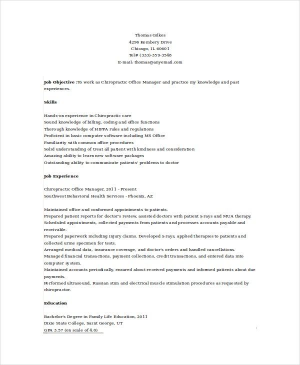 chiropractic office manager resume template - Chiropractic Resume