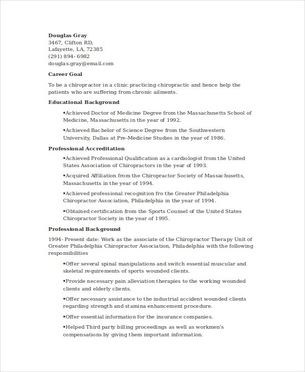 chiropractic resume template 6 free word documents