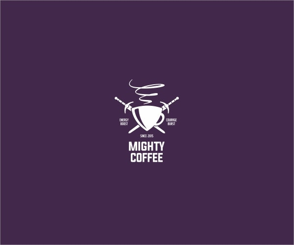 Mighty Coffee Logo Mockup Design