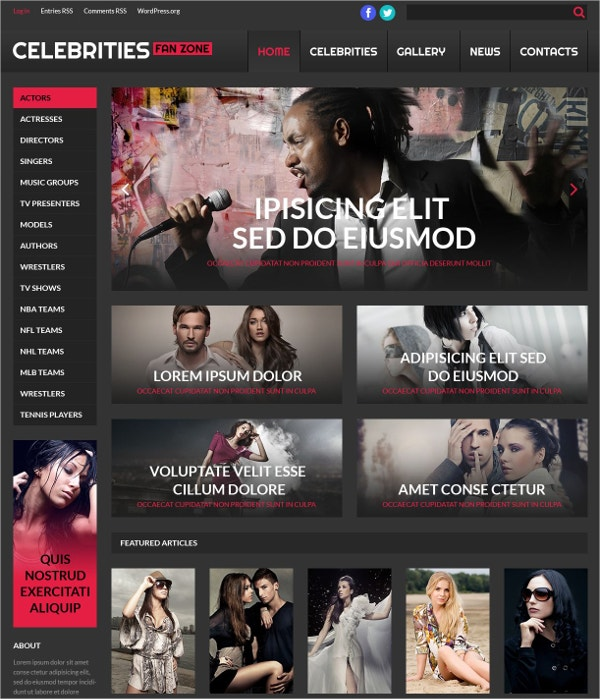 Premium Online Cinema Celebrity WordPress Theme $75