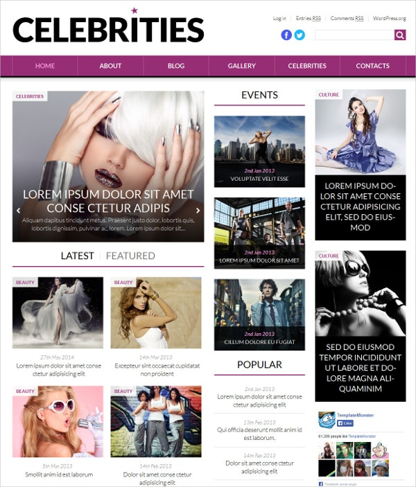 Fashion Celebrities News Portal WordPress Theme $75