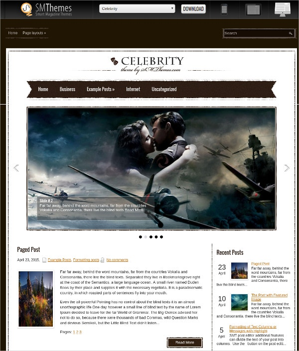 Free Film Stars Celebrity WordPress Theme