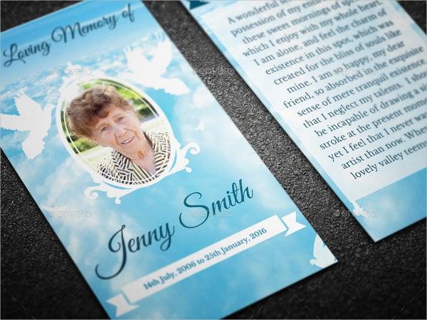 peace funeral prayer card template1