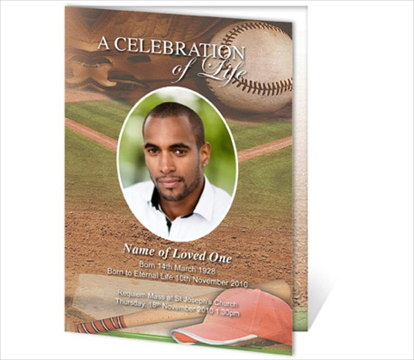baseball funeral service card template