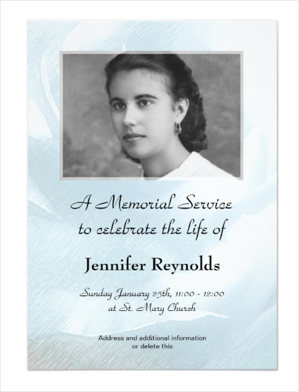 Memorial Service Card Anouncment Template