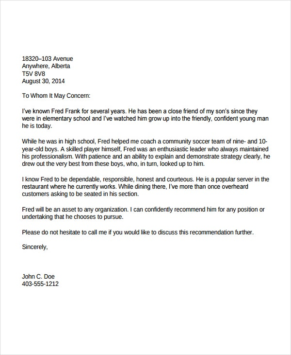 reference letter for immigration 6  Immigration Reference Letter Templates - Free Sample, Example ...