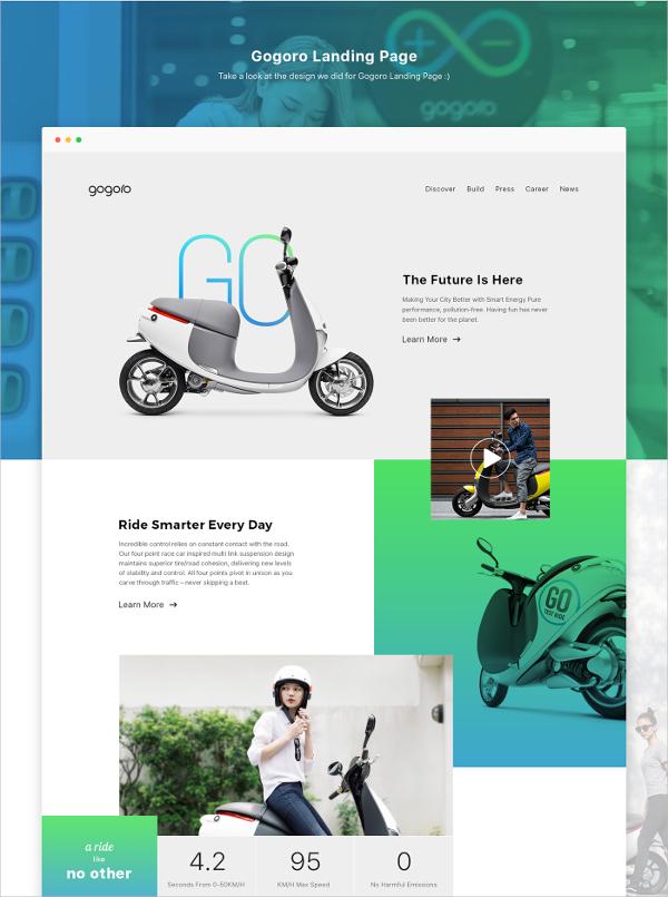 Gogoro Landing Page UI Design