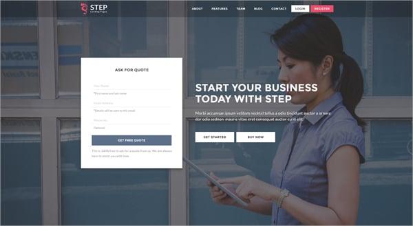 Step Startup Landing page