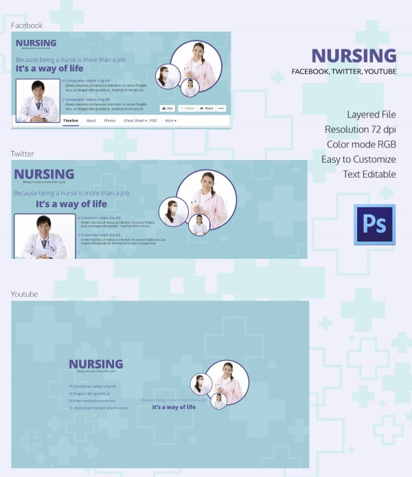 nursing social cover page template