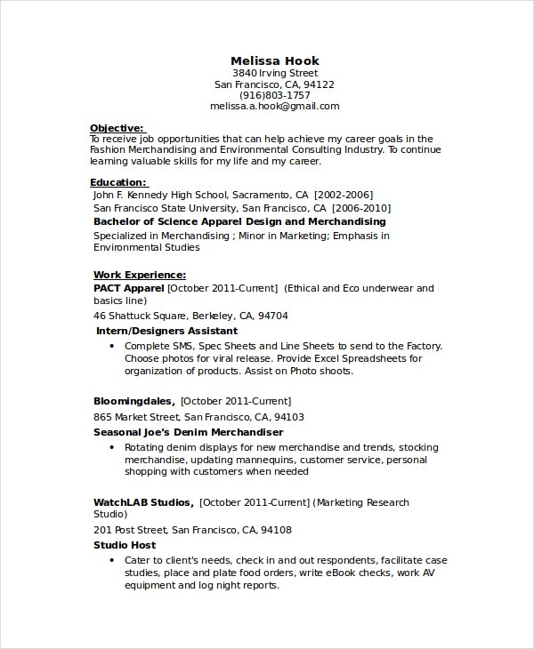 Factory Seamstress Resume
