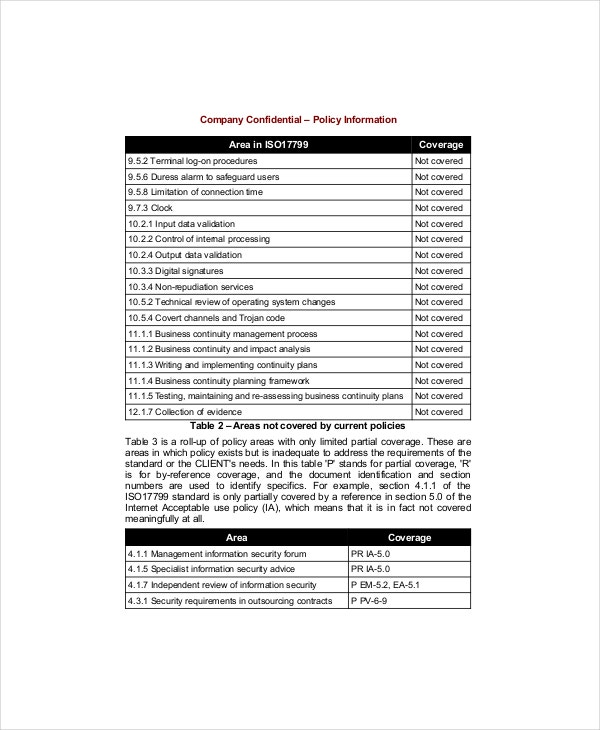 Policy Gap Analysis Template 3 Free Excel PDF Documents – It Security Policy Template