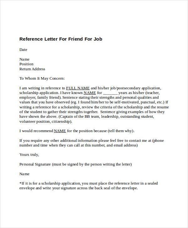 5 Reference Letter For Friend Templates Free Sample Example