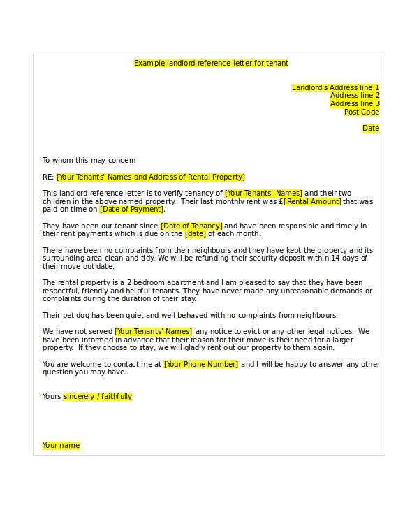 5 Tenant Reference Letter Templates Free Sample Example – Template for Reference Letter from Employer