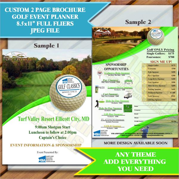 golf event planner brochure