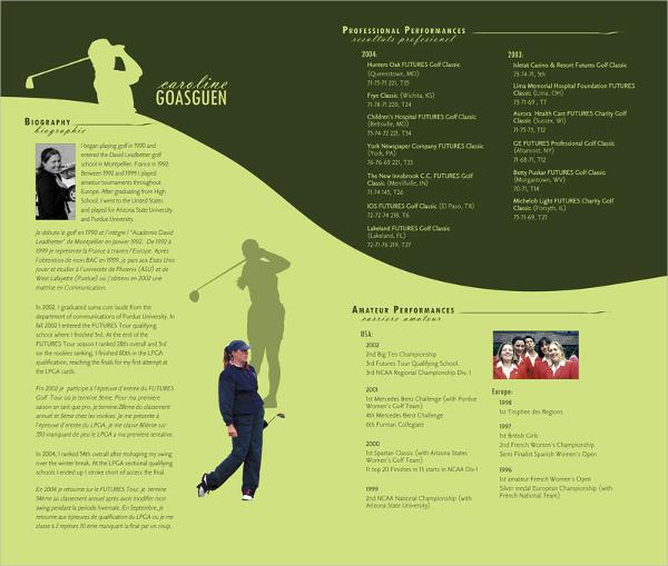 golfer bi fold brochure