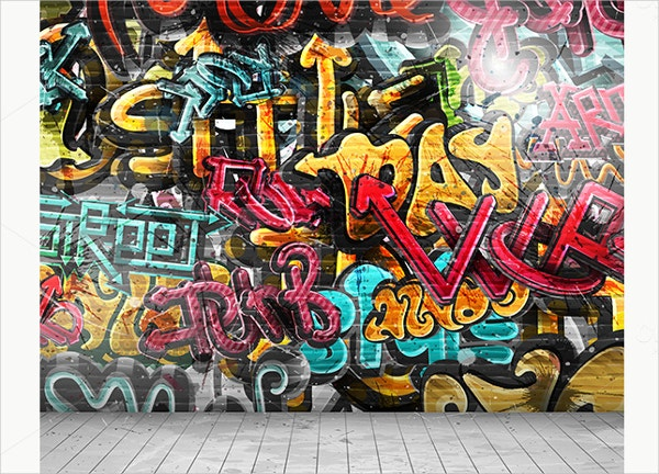 Abstract Graffiti on Wall Backdrop