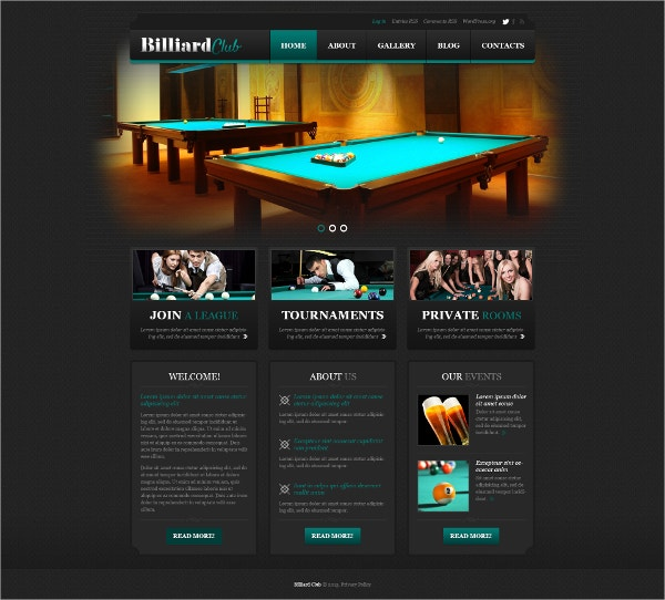 stylish billiard club wordpress theme