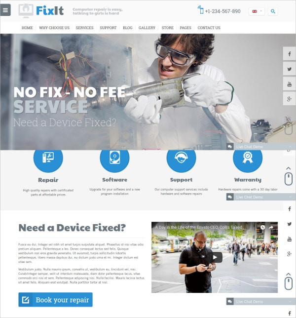 Computer Repair Website Template $40