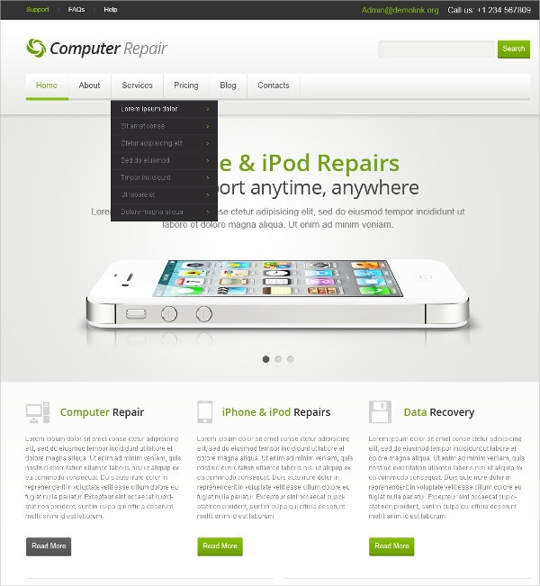 Alternative Model Computer Repair Joomla Template