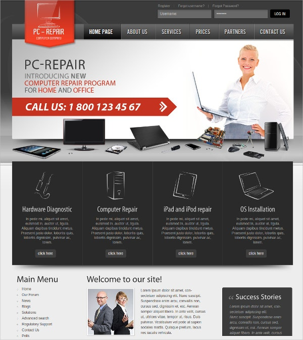 Computer Repair Program Joomla Template $25