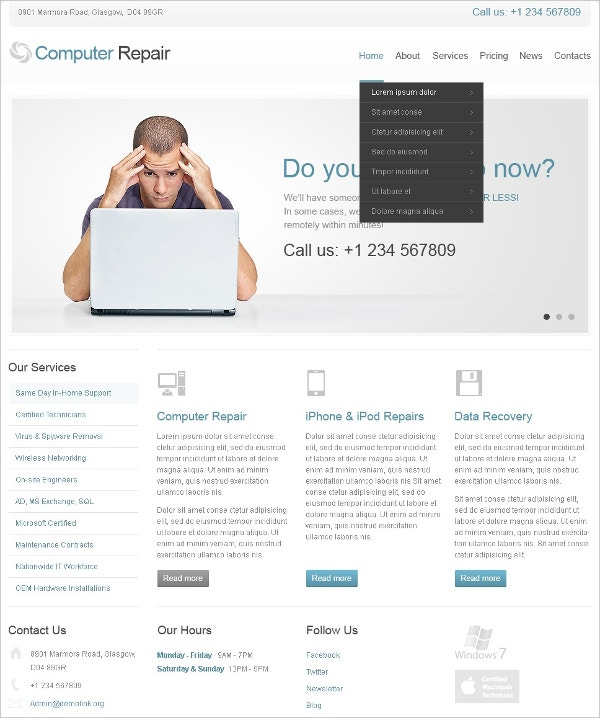 Admin Panel Computer Repair Joomla Template