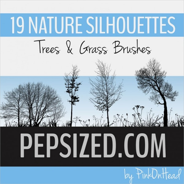 19 nature silhouettes trees grass brushes