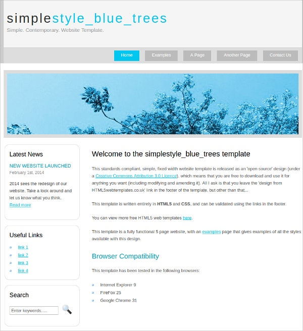 free simple style html5 theme