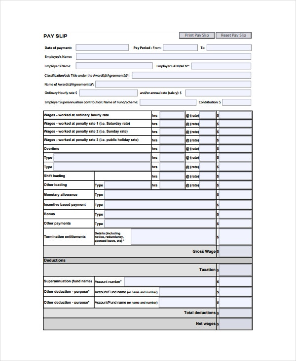 Wage Slip Template  Blank Wage Slips