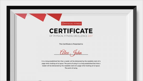 physical fitness certificates