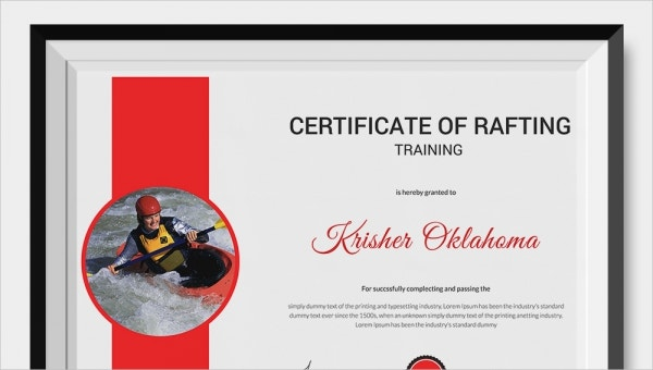 certificate of rafting templates