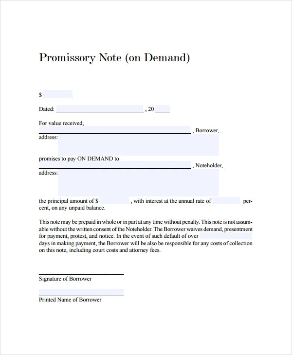 Demand promissory note promissory note template for Promissory note template canada
