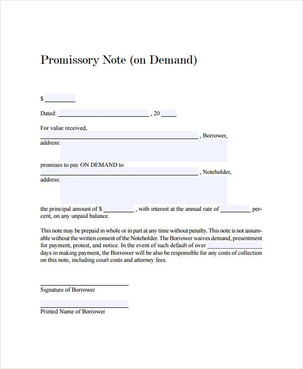 demand promissory note template | trattorialeondoro